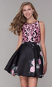 Image of short illusion open-back a-line floral-print dress Style: TI-GL-1625H2110 Detail Image 2