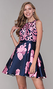 Image of short illusion open-back a-line floral-print dress Style: TI-GL-1625H2110 Detail Image 3
