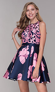 Image of short illusion open-back a-line floral-print dress Style: TI-GL-1625H2110 Front Image