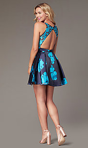 Image of short illusion open-back a-line floral-print dress Style: TI-GL-1625H2110 Detail Image 6