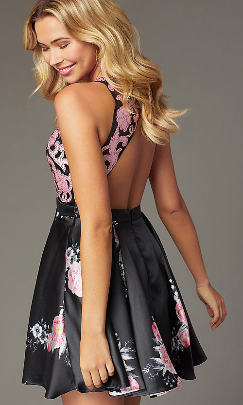 Image of short illusion open-back a-line floral-print dress Style: TI-GL-1625H2110 Detail Image 4