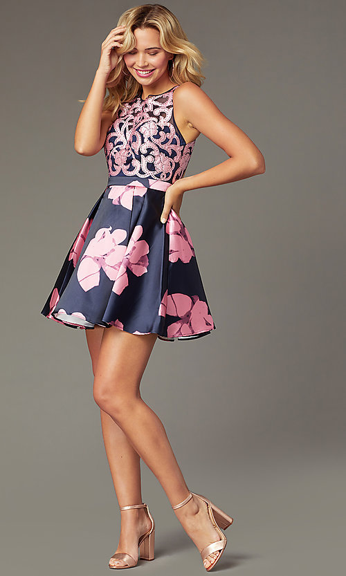 Image of short illusion open-back a-line floral-print dress Style: TI-GL-1625H2110 Back Image