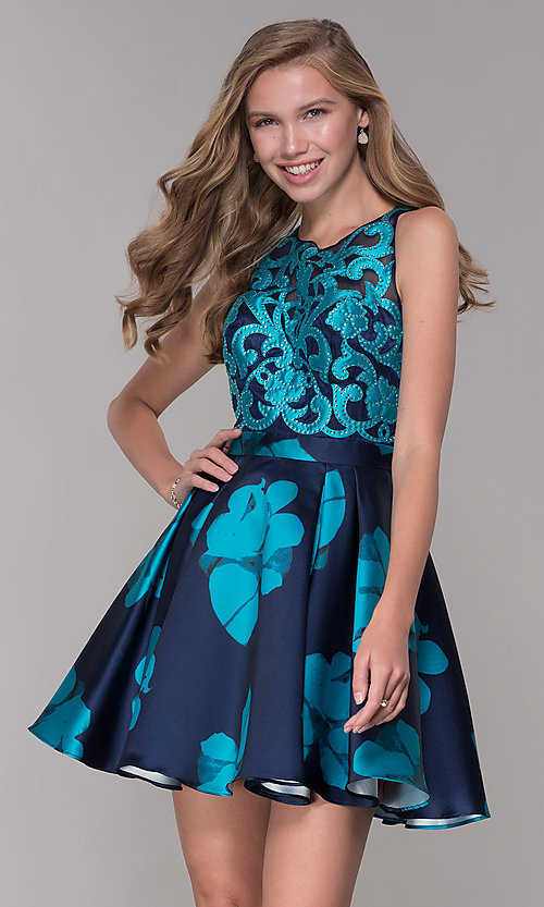 Image of short illusion open-back a-line floral-print dress Style: TI-GL-1625H2110 Detail Image 1