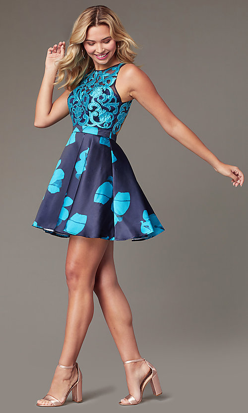 Image of short illusion open-back a-line floral-print dress Style: TI-GL-1625H2110 Detail Image 5