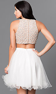 Image of ivory beaded-bodice two-piece homecoming dress. Style: TI-GL-DL311 Back Image