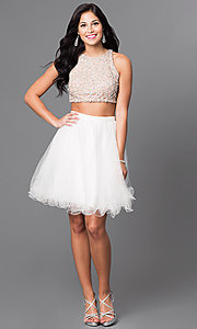 Image of ivory beaded-bodice two-piece homecoming dress. Style: TI-GL-DL311 Detail Image 1