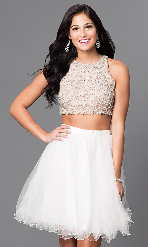 Image of ivory beaded-bodice two-piece homecoming dress. Style: TI-GL-DL311 Front Image