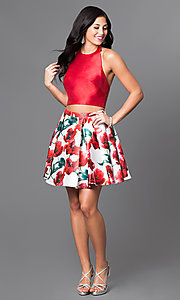 Image of floral print two-piece red halter dress. Style: TI-GL-1625H1200 Detail Image 1