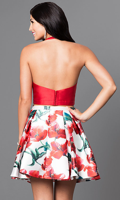 Image of floral print two-piece red halter dress. Style: TI-GL-1625H1200 Back Image