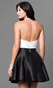 Image of halter-top short a-line cocktail dress. Style: TI-GL-1625H1189 Back Image