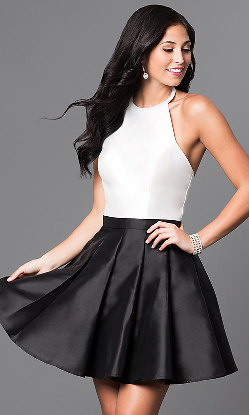 Image of halter-top short a-line cocktail dress. Style: TI-GL-1625H1189 Front Image