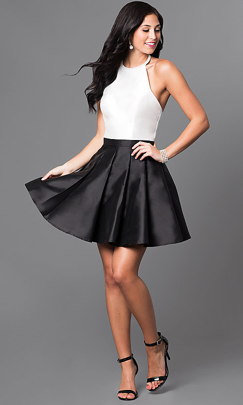 Image of halter-top short a-line cocktail dress. Style: TI-GL-1625H1189 Detail Image 1
