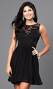 Image of short sleeveless lace-bodice homecoming party dress. Style: LP-23801 Front Image