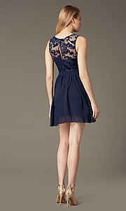 Image of short sleeveless lace-bodice homecoming party dress. Style: LP-23801 Back Image
