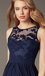 Image of short sleeveless lace-bodice homecoming party dress. Style: LP-23801 Detail Image 1