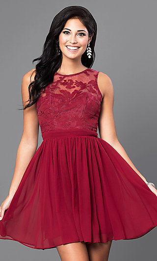 Short Sleeveless Lace-Bodice Homecoming Party Dress