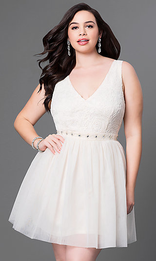 V-Neck Short Lace Bodice Plus Dress