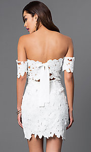 Image of off-the-shoulder short lace dress Style: LUX-LD2193 Back Image