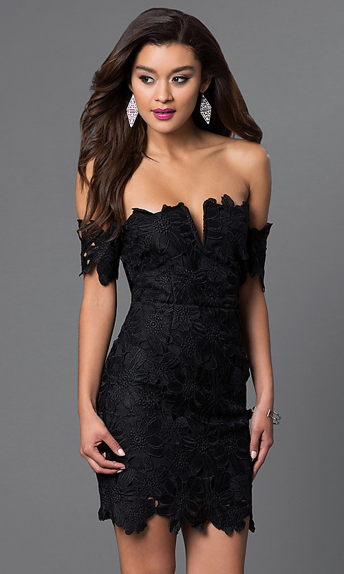 Image of off-the-shoulder short lace dress Style: LUX-LD2193 Detail Image 1