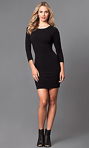 Image of lace-up back 3/4 sleeve short party dress.  Style: SY-ID3589HP Detail Image 2