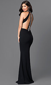 Image of floor-length high-keyhole open-back black dress. Style: SY-ID3477HP Front Image