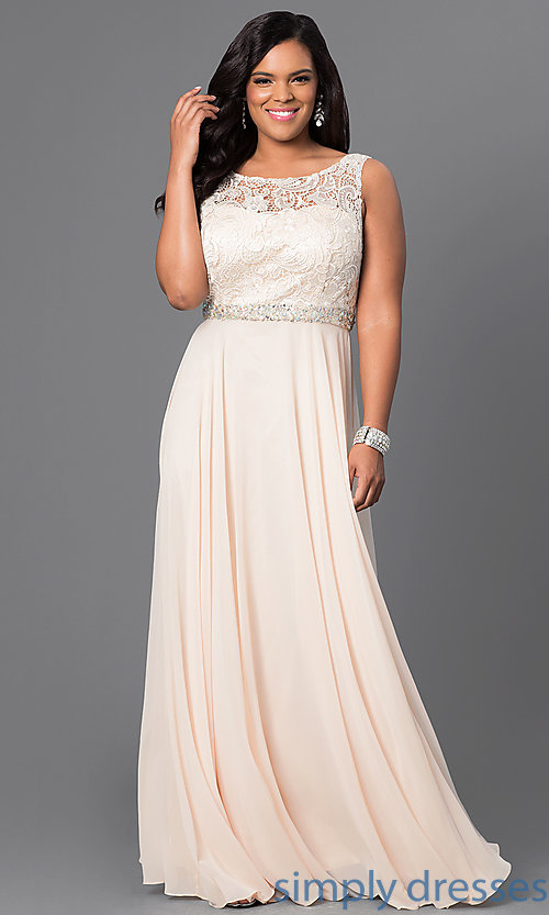 Jeweled-Waist Long Plus-Size Formal Dress with Lace