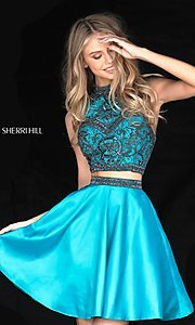 Image of high neck two-piece Sherri Hill party dress. Style: SH-50524 Detail Image 3
