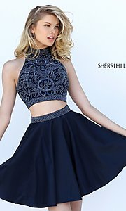 Image of high neck two-piece Sherri Hill party dress. Style: SH-50524 Detail Image 1