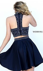 Image of high neck two-piece Sherri Hill party dress. Style: SH-50524 Back Image