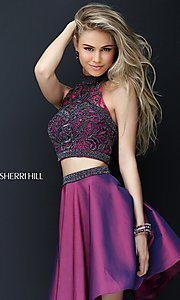 Image of high neck two-piece Sherri Hill party dress. Style: SH-50524 Front Image