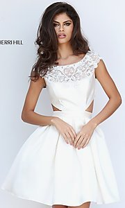 Image of cap-sleeve Sherri Hill party dress with cut-outs. Style: SH-50682 Front Image