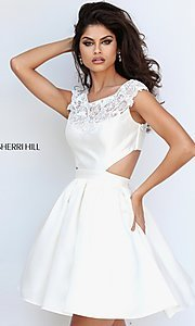 Image of cap-sleeve Sherri Hill party dress with cut-outs. Style: SH-50682 Detail Image 1