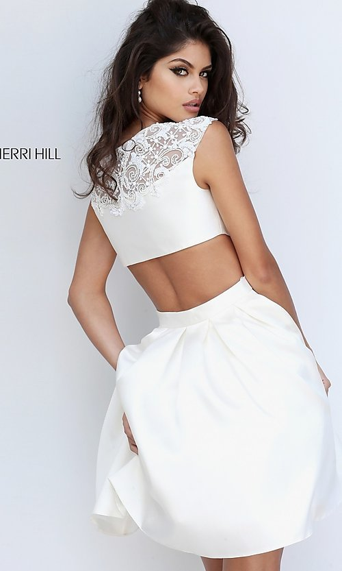 Image of cap-sleeve Sherri Hill party dress with cut-outs. Style: SH-50682 Back Image