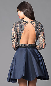 Image of short open-back two-piece long-sleeve party dress. Style: SH-50693 Back Image