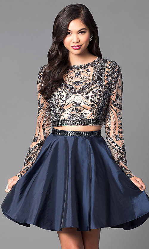 Image of short open-back two-piece long-sleeve party dress. Style: SH-50693 Front Image