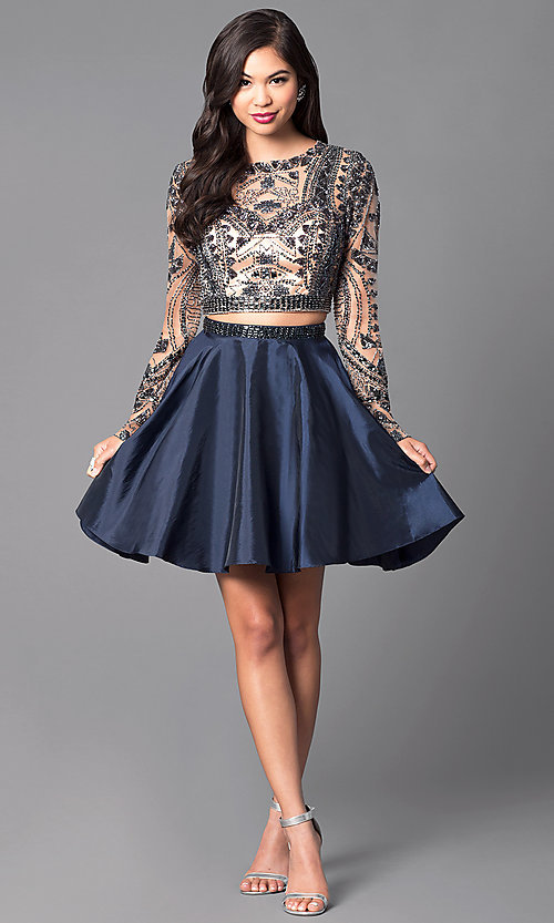 Image of short open-back two-piece long-sleeve party dress. Style: SH-50693 Detail Image 1