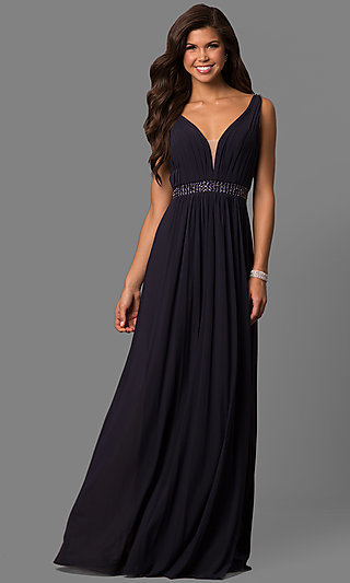 V-Neck Floor-Length Formal Gown by Sherri Hill