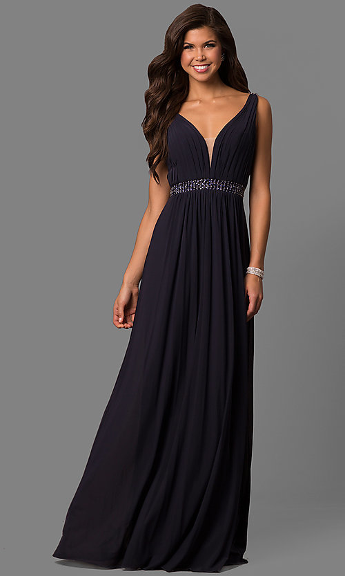 Long Sleeveless Deep V-Neck Formal Sherri Hill Dress