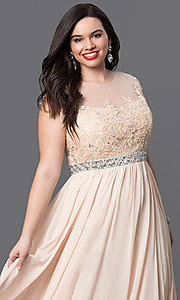 Image of plus-size long taupe formal dress with lace bodice. Style: DQ-9400Pt Detail Image 5