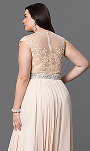Image of plus-size long taupe formal dress with lace bodice. Style: DQ-9400Pt Detail Image 6