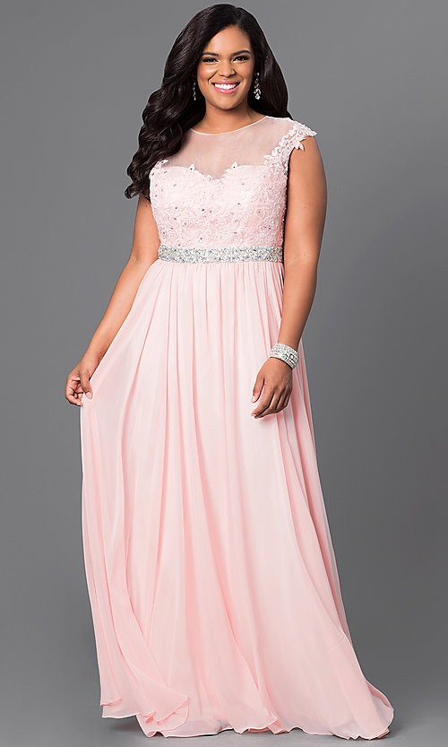 Image of plus-size long taupe formal dress with lace bodice. Style: DQ-9400Pt Detail Image 1