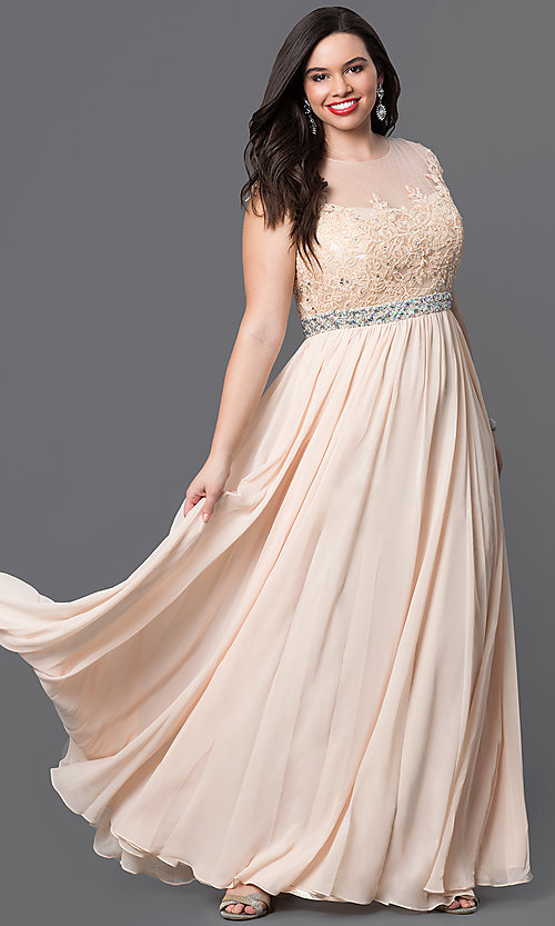 Image of plus-size long taupe formal dress with lace bodice. Style: DQ-9400Pt Detail Image 3