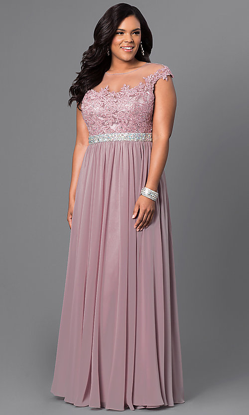 Image of plus-size long taupe formal dress with lace bodice. Style: DQ-9400Pt Front Image