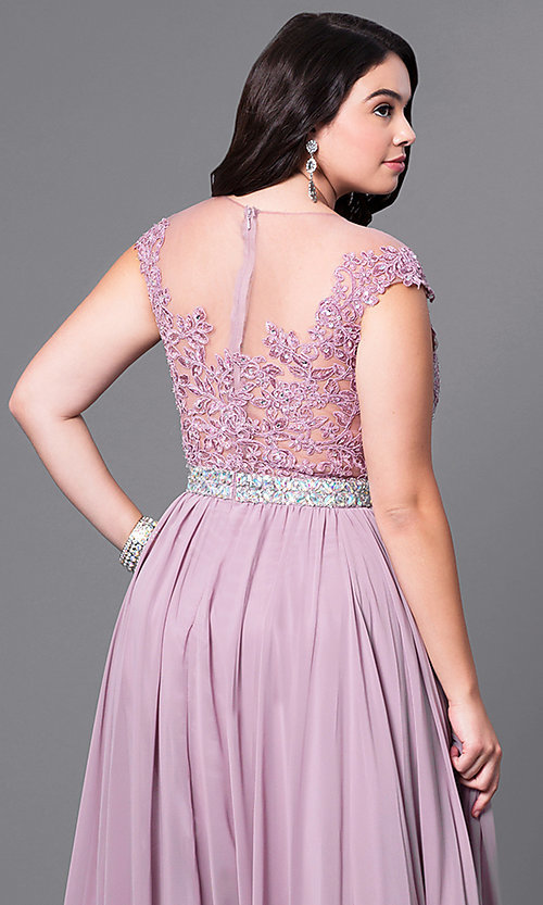 Image of plus-size long taupe formal dress with lace bodice. Style: DQ-9400Pt Detail Image 2