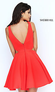 Image of v-back Sherri Hill short homecoming party dress. Style: SH-S50660 Back Image