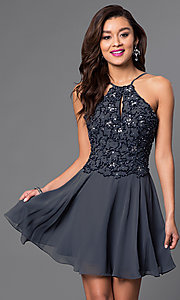 Image of short homecoming party dress with beaded bodice. Style: JO-JVN-JVN41683 Detail Image 2