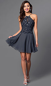 Image of short homecoming party dress with beaded bodice. Style: JO-JVN-JVN41683 Detail Image 3