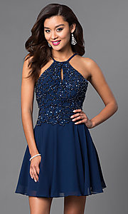 Image of short homecoming party dress with beaded bodice. Style: JO-JVN-JVN41683 Front Image