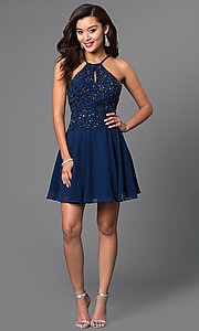 Image of short homecoming party dress with beaded bodice. Style: JO-JVN-JVN41683 Detail Image 1