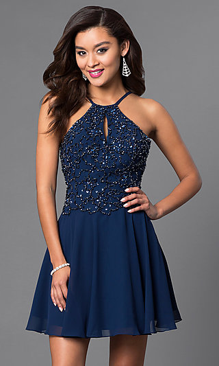 Short Homecoming Party Dress with Beaded Bodice